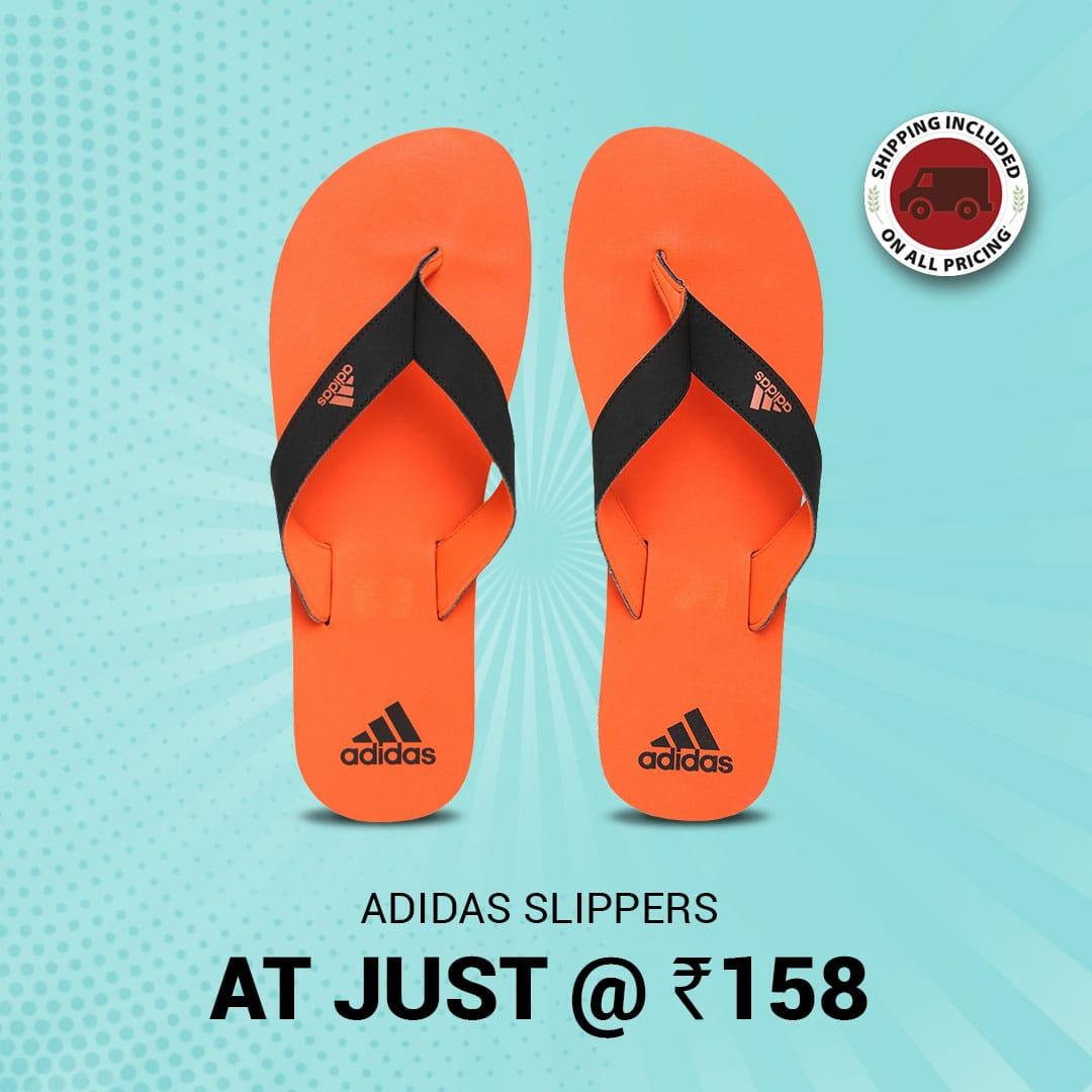Adidas Men's Black Flip Flops at Rs. 158 after discounts